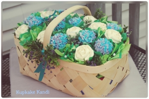 Large Garden Basket with Roses and Hydrangeas