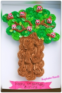 Owls in Tree Pull Apart Cupcake Cake