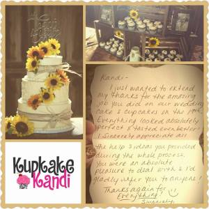 Rustic Sunflower Wedding Cake & Cupcakes