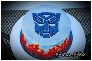Transformers Cake with Hand-painted flames